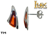 Jewellery SILVER sterling earrings.  Stone: amber. TAG: modern; name: E-C38; weight: 2.1g.