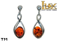 Jewellery SILVER sterling earrings.  Stone: amber. TAG: clasic; name: E-C70; weight: 2.3g.