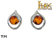 Jewellery SILVER sterling earrings.  Stone: amber. TAG: clasic; name: E-C89S; weight: 1.7g.