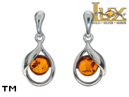 Jewellery SILVER sterling earrings.  Stone: amber. TAG: clasic; name: E-C89SW; weight: 2.5g.