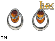 Jewellery SILVER sterling earrings.  Stone: amber. TAG: ; name: E-C93S; weight: 1.6g.