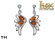 Jewellery SILVER sterling earrings.  Stone: amber. Angel wings. TAG: nature, modern, signs; name: E-C94-2; weight: 3g.