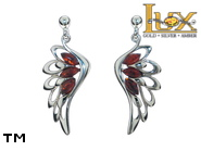 Jewellery SILVER sterling earrings.  Stone: amber. Angel wings. TAG: nature, modern, signs; name: E-C94; weight: 3.9g.