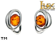Jewellery SILVER sterling earrings.  Stone: amber. TAG: ; name: E-D03; weight: 1.8g.
