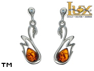 Jewellery SILVER sterling earrings.  Stone: amber. TAG: animals; name: E-D05; weight: 2.2g.
