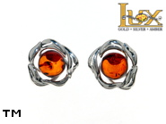 Jewellery SILVER sterling earrings.  Stone: amber. TAG: nature; name: E-D06S; weight: 1.6g.