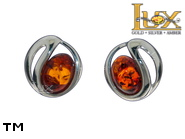 Jewellery SILVER sterling earrings.  Stone: amber. TAG: ; name: E-D11; weight: 1.7g.