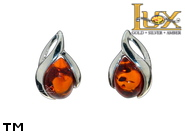 Jewellery SILVER sterling earrings.  Stone: amber. TAG: nature; name: E-D91; weight: 1.3g.