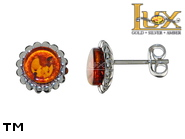 Jewellery SILVER sterling earrings.  Stone: amber. TAG: nature, modern; name: E-E47; weight: 1.9g.