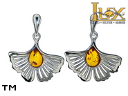 Jewellery SILVER sterling earrings.  Stone: amber. Ginkgo leaf. TAG: nature; name: E-E63; weight: 3.1g.