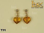 Jewellery GOLD earrings.  Stone: amber. TAG: hearts; name: GE003; weight: 2g.