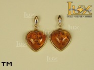 Jewellery GOLD earrings.  Stone: amber. TAG: hearts, clasic; name: GE147; weight: 5g.