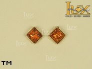 Jewellery GOLD earrings.  Stone: amber. TAG: ; name: GE255S; weight: 1.3g.
