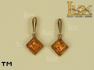 Jewellery GOLD earrings.  Stone: amber. TAG: ; name: GE255SW; weight: 1.7g.