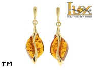 Jewellery GOLD earrings.  Stone: amber. TAG: modern; name: GE321; weight: 4g.