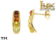 Jewellery GOLD earrings.  Stone: amber. TAG: modern; name: GE323; weight: 3.2g.