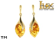 Jewellery GOLD earrings.  Stone: amber. TAG: ; name: GE324; weight: 6.3g.