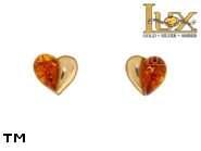 Jewellery GOLD earrings.  Stone: amber. TAG: hearts, modern; name: GE341; weight: 1.7g.