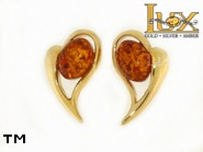 Jewellery GOLD earrings.  Stone: amber. TAG: hearts, modern; name: GE348S; weight: 2.62g.