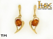 Jewellery GOLD earrings.  Stone: amber. TAG: hearts, modern; name: GE348SW; weight: 3.28g.