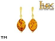 Jewellery GOLD earrings.  Stone: amber. TAG: ; name: GE381; weight: 2.86g.
