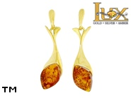 Jewellery GOLD earrings.  Stone: amber. TAG: ; name: GE383; weight: 3.84g.