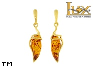 Jewellery GOLD earrings.  Stone: amber. TAG: ; name: GE384; weight: 3.2g.