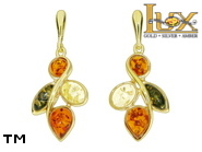 Jewellery GOLD earrings.  Stone: amber. TAG: nature; name: GE391; weight: 5.54g.