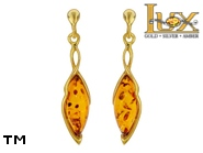 Jewellery GOLD earrings.  Stone: amber. TAG: modern; name: GE399; weight: 3.98g.
