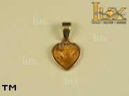 Jewellery GOLD pendant.  Stone: amber. TAG: hearts, clasic; name: GP109-1; weight: 1.9g.