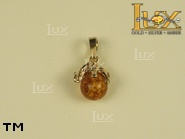 Jewellery GOLD pendant.  Stone: amber. TAG: animals, clasic, signs; name: GP129; weight: 1.63g.