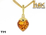 Jewellery GOLD pendant.  Stone: amber. TAG: ; name: GP325; weight: 1.15g.