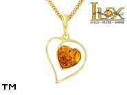 Jewellery GOLD pendant.  Stone: amber. TAG: hearts; name: GP385; weight: 1.94g.