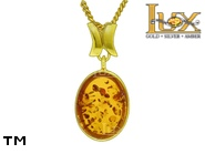 Jewellery GOLD pendant.  Stone: amber. TAG: ; name: GP389; weight: 2.32g.