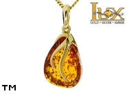 Jewellery GOLD pendant.  Stone: amber. TAG: clasic; name: GP396; weight: 2.11g.