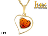 Jewellery GOLD pendant.  Stone: amber. TAG: hearts; name: GP407; weight: 0g.