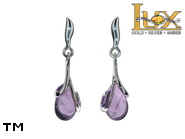 Jewellery SILVER sterling earrings.  Stone: amethyst.  TAG: ; name: KE-B49-AM; weight: 2.7g.
