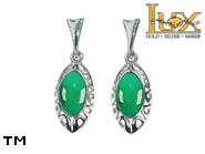 Jewellery SILVER sterling earrings.  Stone: green agat.  TAG: ; name: KE-B96SW-AZ; weight: 3.2g.