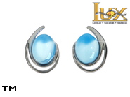 Jewellery SILVER sterling earrings.  Stone: blue agat.  TAG: ; name: KE-C65-AN; weight: 2.6g.