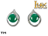 Jewellery SILVER sterling earrings.  Stone: green agat.  TAG: clasic; name: KE-C89S-AZ; weight: 2g.