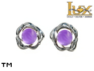Jewellery SILVER sterling earrings.  Stone: amethyst.  TAG: nature; name: KE-D06S-AM; weight: 1.8g.