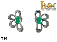 Jewellery SILVER sterling earrings.  Stone: green agat.  TAG: ; name: KE-D08-AZ; weight: 1.7g.