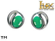 Jewellery SILVER sterling earrings.  Stone: green agat.  TAG: ; name: KE-D11-AZ; weight: 1.9g.