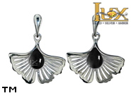 Jewellery SILVER sterling earrings.  Stone: jet.  Ginkgo leaf. TAG: nature; name: KE-E63-GG; weight: 3.1g.