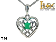 Jewellery SILVER sterling pendant.  Stone: green agat.  Heart. TAG: hearts; name: KP-D10-AZ; weight: 2.1g.