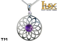 Jewellery SILVER sterling pendant.  Stone: amethyst.  Dreamcatcher. TAG: signs; name: KP-D22-AM; weight: 2.4g.