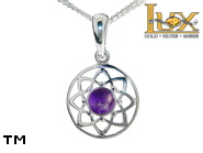 Jewellery SILVER sterling pendant.  Stone: amethyst.  Dreamcatcher. TAG: signs; name: KP-D23-AM; weight: 1.3g.