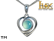 Jewellery SILVER sterling pendant.  Stone: agat aqua.  Hearts. TAG: hearts; name: KP-D50-AA; weight: 1.7g.