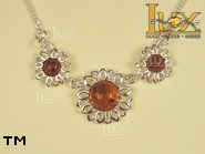 Jewellery SILVER sterling necklace.  Stone: amber. TAG: nature; name: N-244; weight: 8.2g.