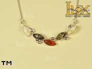 Jewellery SILVER sterling necklace.  Stone: amber. TAG: nature; name: N-529; weight: 7.8g.